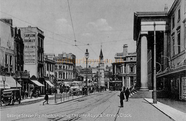 A 1920s Postcard of George Street and the Theatre Royal, Plymouth.