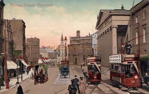 Early coloured postcard showing George Street and the Theatre Royal, Plymouth which was probably commissioned by Moon's Pianos.