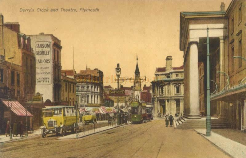 A lovely 1920s tinted Postcard depicting George Street Plymouth showing Derry's Clock, and the Theatre Royal