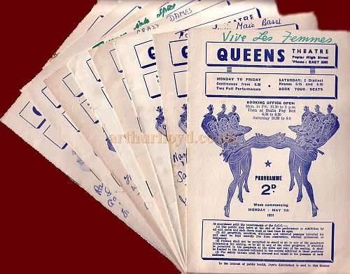 A selection of programmes for the Queens Theatre, Poplar for 1951 - 1954, all with hand written notes inside about the performers and their performances.