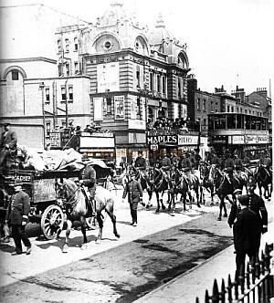 Hippodrome, Poplar during the Dock Strike of 1912  -  from 'Times Gone By' A photographic record of Great Britain 1856 - 1956 - Click for details of this Theatre