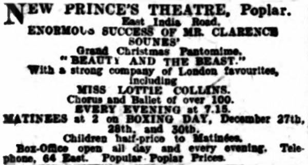 An Advertisement for the opening production of 'Beauty and the Beast' at the New Prince's Theatre Poplar - From the Weekly Dispatch (London), 24th of December 1905.