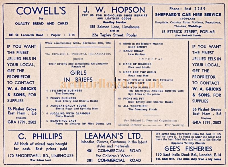A Variety Programme for the Queen's Theatre, Poplar in 1953 - Courtesy Philip Mernick. The Acts included the one season only double act of Dick Emery and Charlie Drake.