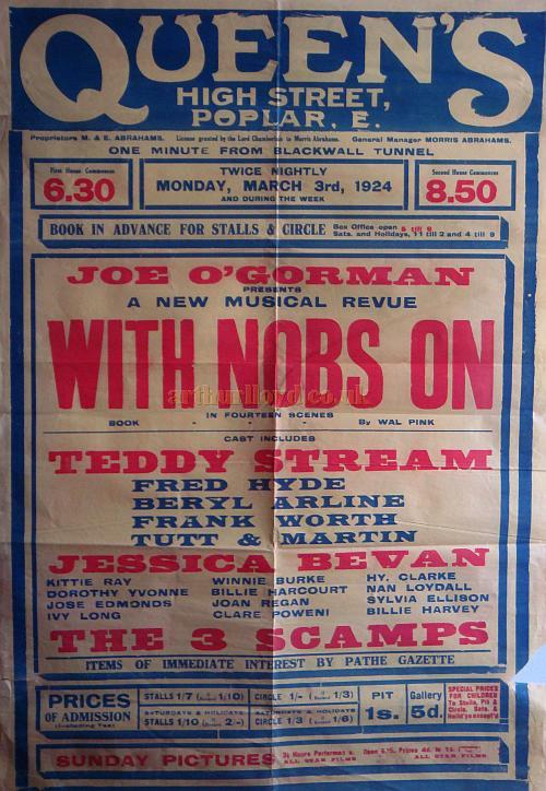 Poster for the Queen's Theatre, Poplar for March 3rd 1924 - Courtesy Stephen Wischhusen