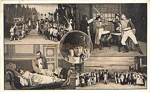Postcard depicting a selection of scenes from the play 'A Royal Divorce' performed at the Queen's Theatre, Poplar in 1915 - Courtesy Steve Kentfield