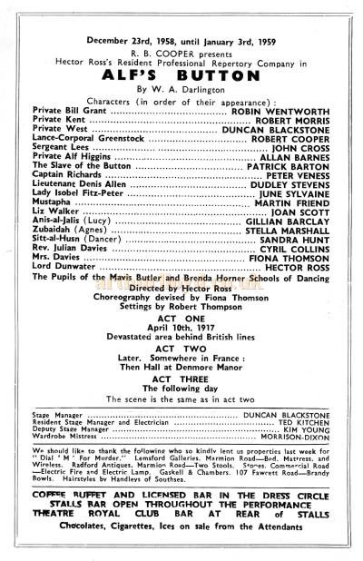 Cast Details from a programme for 'Alf's Button' at the Theatre Royal, Portsmouth in 1958 - Courtesy Sandra Harding.