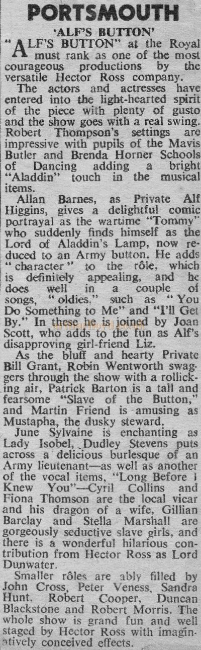A Review from The Stage of December 1958 for 'Alf's Button' at the Theatre Royal, Portsmouth - Courtesy Sandra Harding.