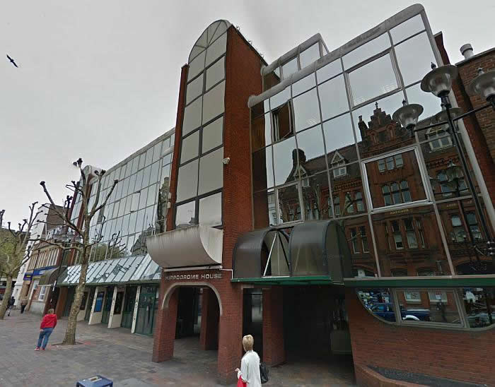 A Google StreetView Image of Hippodrome House, on the site of the former Portsmouth Hippodrome - Click to Interact.
