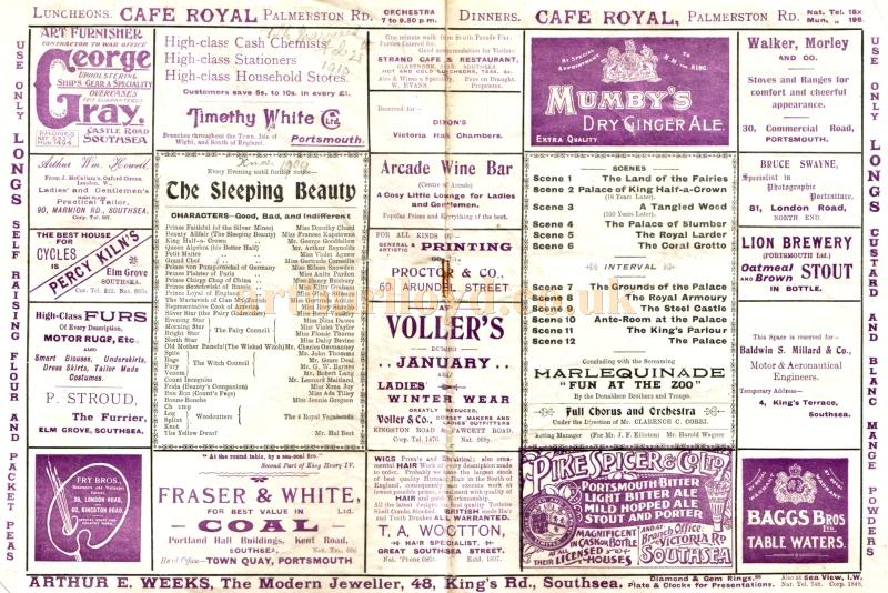 A programme for the pantomime 'Sleeping Beauty' at the present Theatre Royal, Portsmouth for Christmas 1909 / 1910 - Click to see the whole programme.