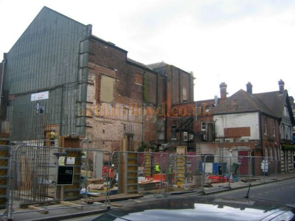 The rear of the Theatre Royal, Portsmouth showing the loss of the Stage House - Courtesy Peter Foulstone.