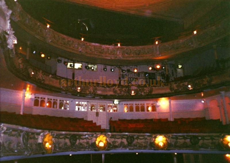 The auditorium of the Theatre Royal, Portsmouth in a photograph by David Garratt taken shortly before the renovation of the Theatre in the early 2000s.