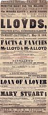 Poster for Horatio Lloyd, and his son Arthur Lloyd, in 'Facts & Fancies' at the Theatre Royal, Trades Hall, Arbroath in 1858. - Click to Enlarge