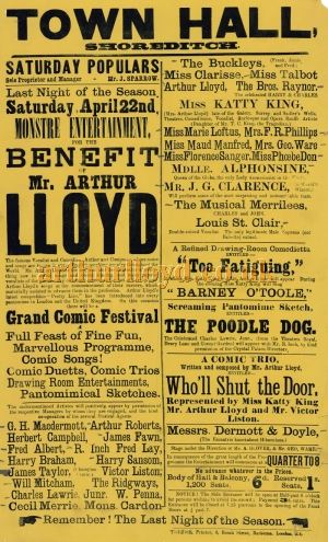 A Poster for a Benefit for Arthur Lloyd with his wife Katty King at the Town Hall Shoreditch in 1882 - Click to Enlarge and for more details.