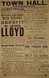 A Poster for a Benefit in aid of Arthur Lloyd at the Town Hall Shoreditch on the 22nd of April 1882. - Click to Enlarge