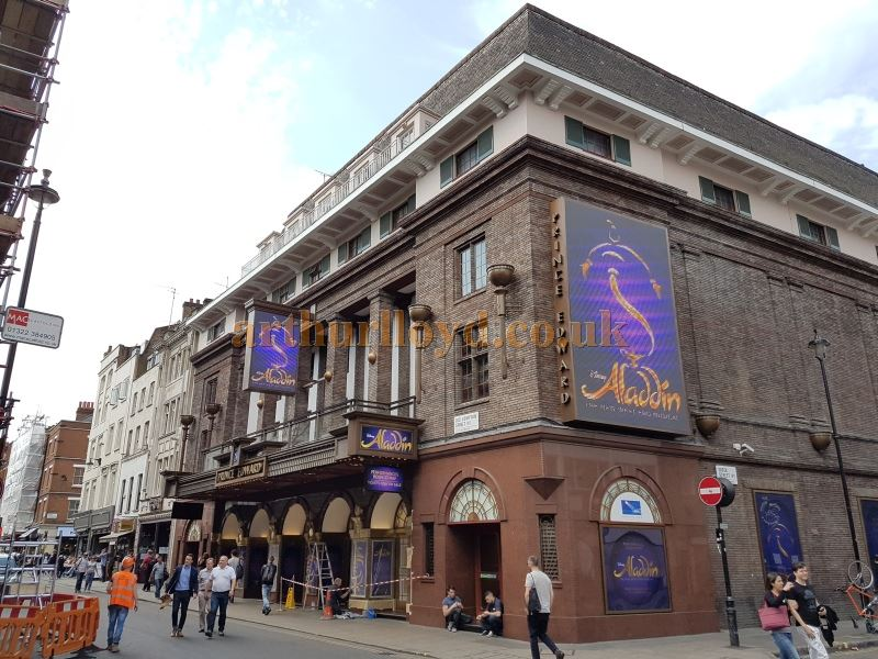 The Prince Edward Theatre during production for 'Aladdin' in May 2016