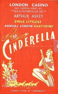 Pantomime Programme for 'Cinderella' at The London Casino in the 1940s.