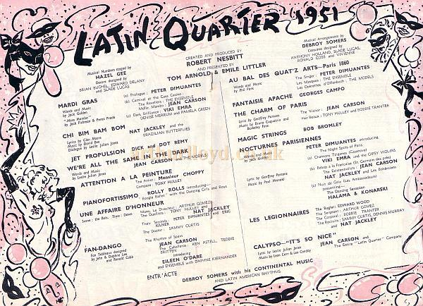 Programme detail for 'Latin Quarter' at The London Casino in 1951.