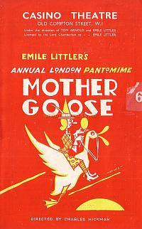 Pantomime Programme for 'Mother Goose' at The London Casino in the 1940s.