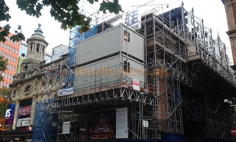 The Shaftesbury Theatre during work to extend and strengthen its Grid in September 2015