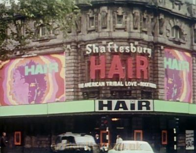 The Shaftesbury Theatre during the run of 'Hair' in the late 1960s - Courtesy Piers Caunter.
