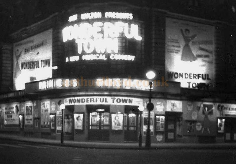 The Princes Theatre, later to become the Shaftesbury Theatre, during the run of 'Wonderful Town' in 1955.