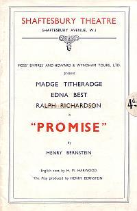 A Programme for 'Promise' at the original Shaftesbury Theatre in 1936.