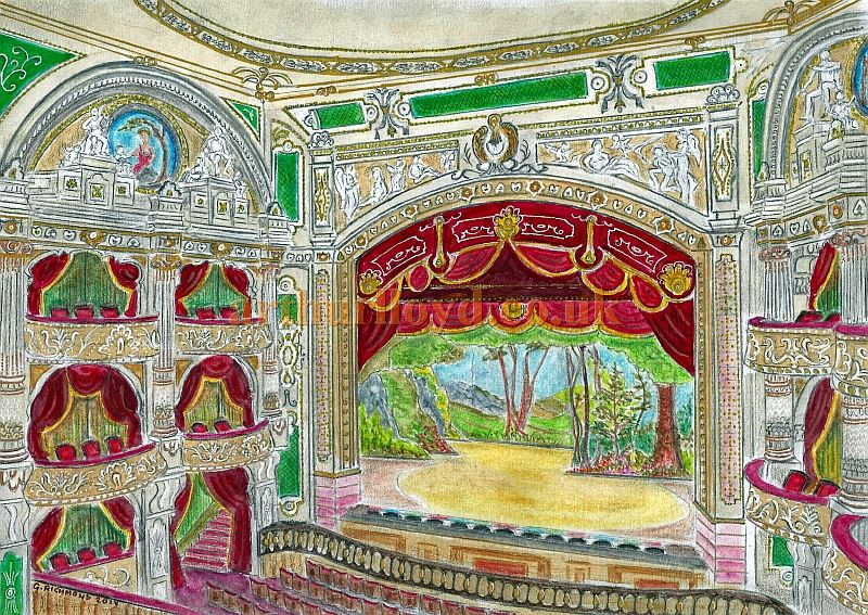 A Painting by George Richmond depicting the Auditorium and Stage of Bertie Crewe's 1911 Princes Theatre, Shaftesbury Avenue, now the Shaftesbury Theatre.