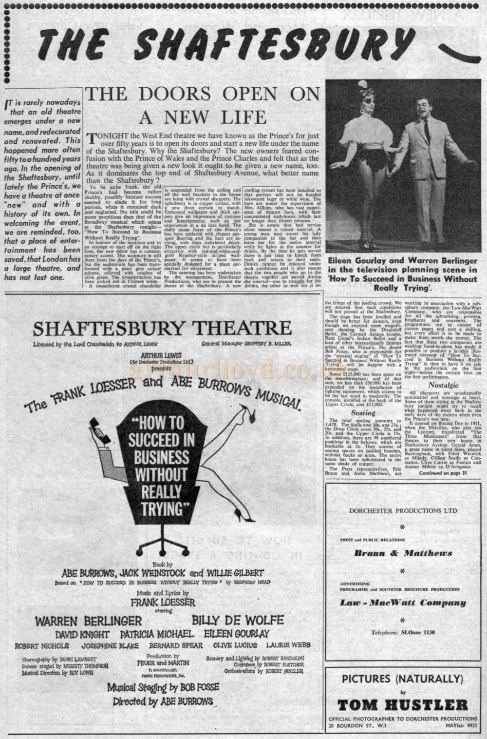An article on the refurbishment of the Prince's Theatre and its change of name to the Shaftesbury Theatre - From The Stage, 28th March 1963.