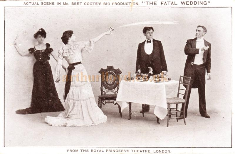 A postcard depicting a scene from 'The Fatal Wedding' the last production at the Royal Princess's Theatre in 1902 - Courtesy Barbara Longley