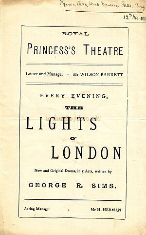 A Programme for 'The Lights Of London' at the Royal Princess's Theatre in 1882.