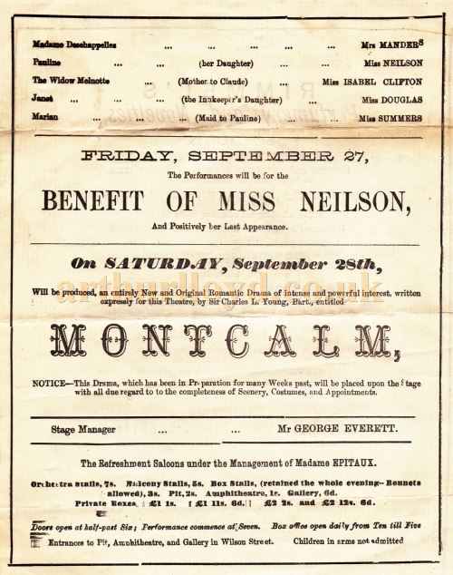 The back page of a Programme for 'Our Farm' and 'Lady of Lyons' at the Queen's Theatre, Long Acre in September 1872.