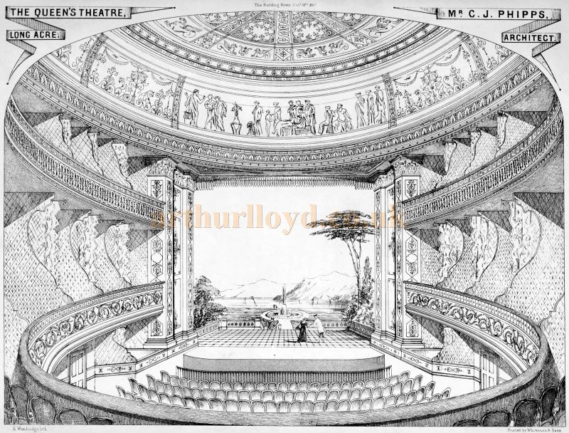 C. J. Phipps' Sketch of the auditorium and stage of the Queen's Theatre, Long Acre - From the Building News and Engineering Journal of October the 18th 1867.