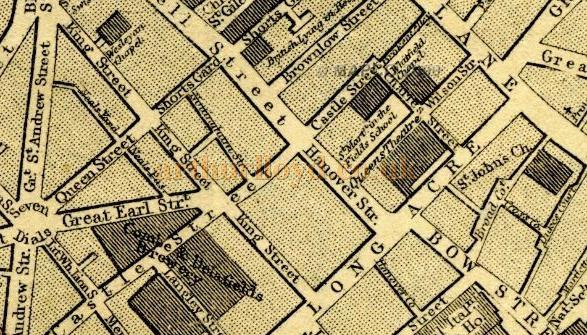 A map from 1868 showing the site of the Queen's Theatre, Long Acre.