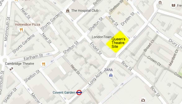 A Present Day Google Map showing the site of the former Queen's Theatre, Long Acre.