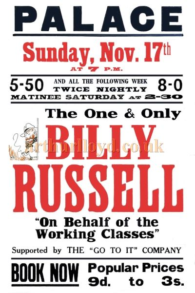A Poster for 'The One and Only Billy Russell' at the Palace Theatre, reading in 1940 - Courtesy Tony Knight