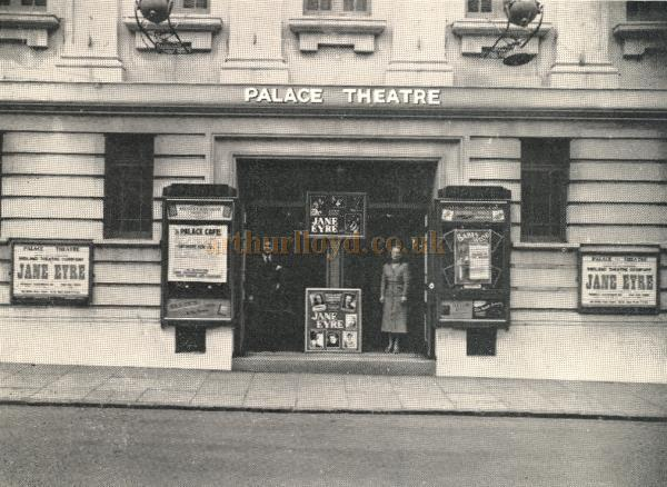 The original entrance to the Palace Theatre and Cafe, Redditch, during the run of 'Jayne Eyre' in the 1950s - From a 1950s programme - Courtesy Paul Hughes