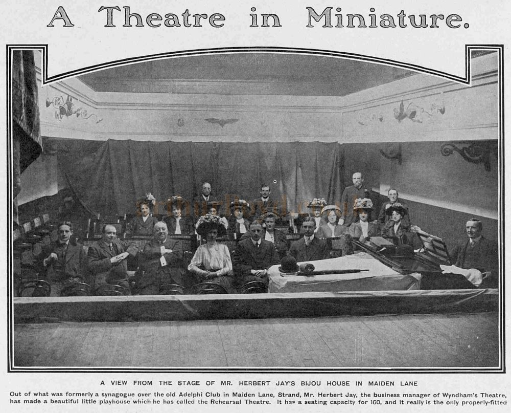 The Auditorium of the Rehearsal Theatre, Maiden Lane - From 'The Tatler', 20th May 1908.