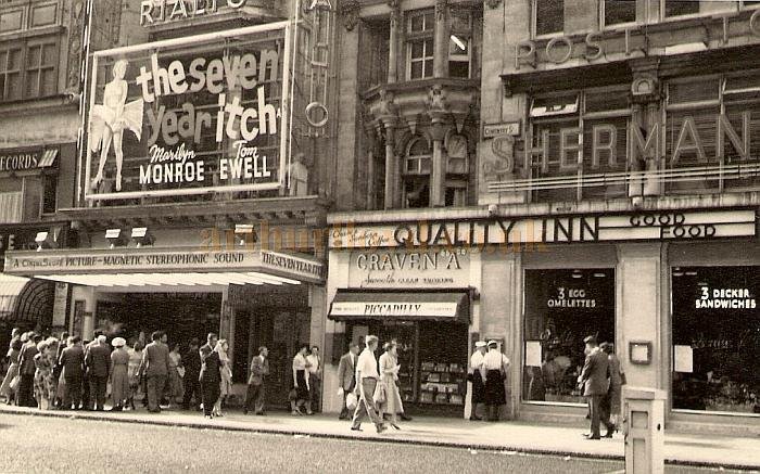 The Rialto Cinema, Coventry Street, during the showing of the film 'The Seven Year Itch' with Marilyn Monroe and Tom Ewell in August 1955 - Photograph by F. C. Hailstone - Courtesy Allan Hailstone.