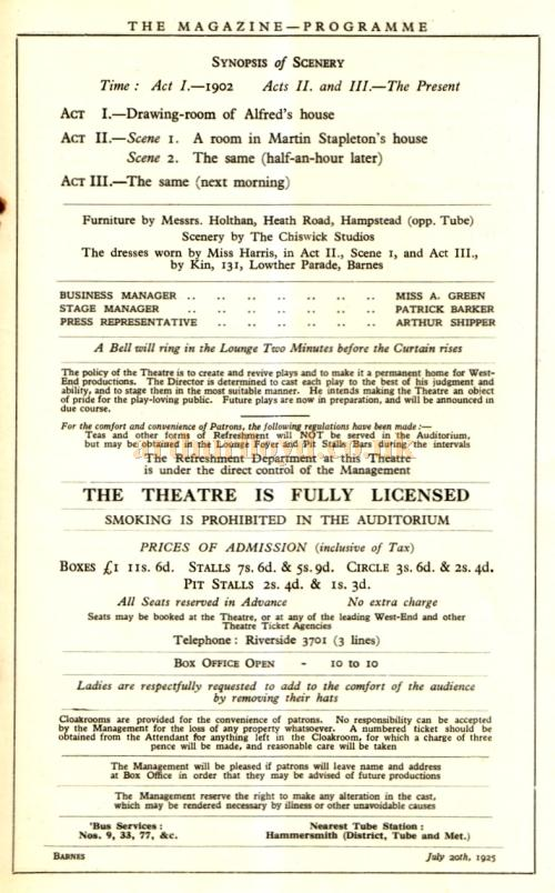 Programme details for 'The Offence' a play in three acts by Mordaunt Shairp produced at the Barnes Theatre, Richmond on the 20th of July 1925.