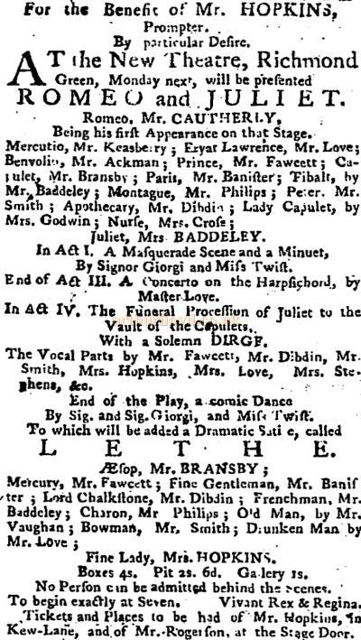 An advertisement in the Public Advertiser of the 31st of July 1766 reports a benefit for Mr Hopkins at the New Theatre, Richmond