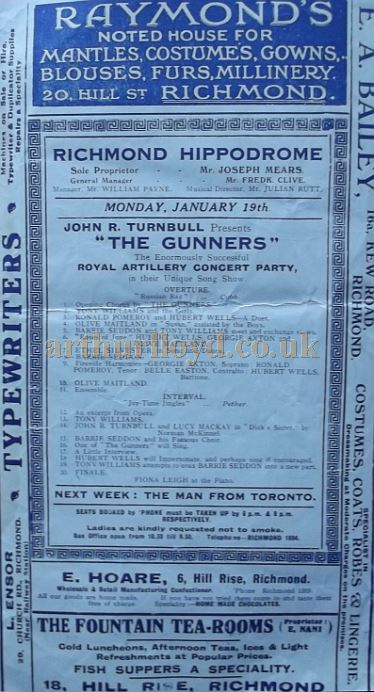 A Programme for 'The Gunners' at the Richmond Hippodrome, now the Richmond Theatre, in January 1914 - Courtesy Roy Cross.