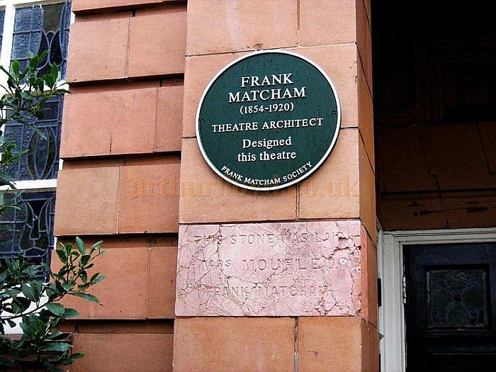 A Modern Day Plaque celebrating the work of Frank Matcham sits above the Foundation Stone of the Theatre Royal, Richmond - Courtesy Charles S. P. Jenkins.