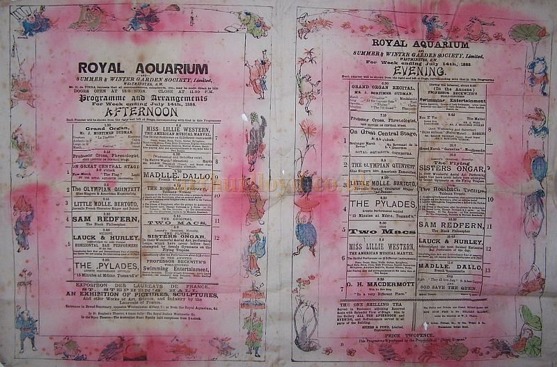 A Programme for the Royal Aquarium from July the 14th 1888, printed on silk - Click to enlarge.