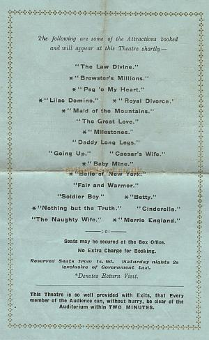 Forthcoming Attractions at the Royal Artillery Theatre from a Programme for 'By Pigeon Post' at the Theatre on the 29th of November 1919 - Courtesy Leonie Williams.