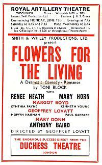 Programme for 'Flowers for the Living' at the Royal Artillery Theatre, Woolwich in June 1950 - Courtesy Michelle Bowen.