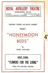 Programme for 'Honeymoon Beds' at the Royal Artillery Theatre, Woolwich in June 1950 - Courtesy Michelle Bowen. - Click to see the entire programme.