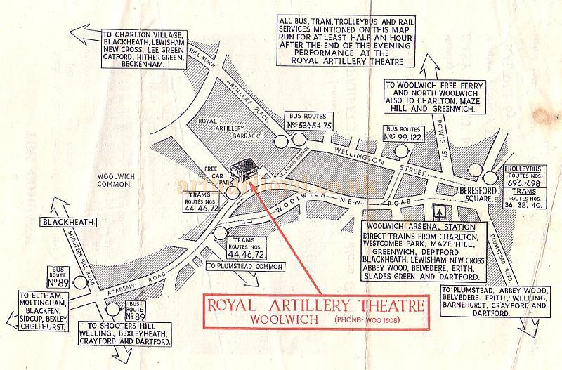 Map showing the Royal Artillery Theatre in Woolwich with details of transport links - From a Wheeler and Salisbury Repertory Programme of 1949 - Courtesy Michelle Bowen.