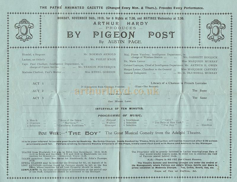 Details from a Programme for 'By Pigeon Post' at the Royal Artillery Theatre on the 29th of November 1919 - Courtesy Leonie Williams