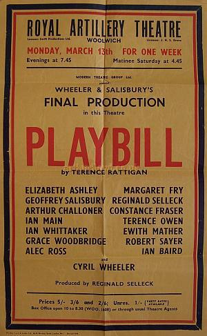 A Poster for 'Playbill' by Terence Rattigan at the Royal Artillery Theatre, Woolwich, which was the last production at the Theatre from the management of Wheeler & Salisbury in March 1950 - Courtesy Michelle Bowen.