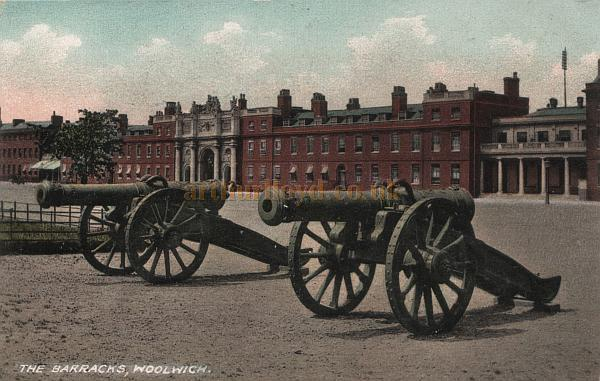 Postcard of the Royal Artillery Barracks, Woolwich. The Royal Artillery Theatre can be seen to the right of the picture, with ventilators visible on the roof above the auditorium. - Courtesy the Val Earl Collection. - Click for more details on this Theatre.